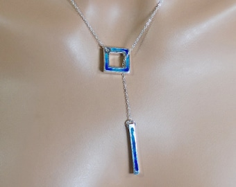Sterling silver and vitreous enamel lariat necklace, royal blue, turquoise, statement