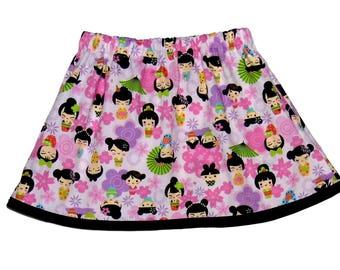 Pink - Kokeshi Dolls - Baby Skirt - Harajuku Clothing - Girl - Baby Clothing - Girls Skirts - Blossom - Purple - Black - Skirt - 12m