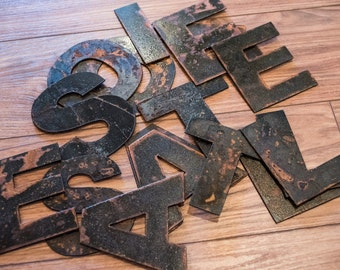 Rustic Metal Letters and Numbers Recycled Steel Rusty Finish