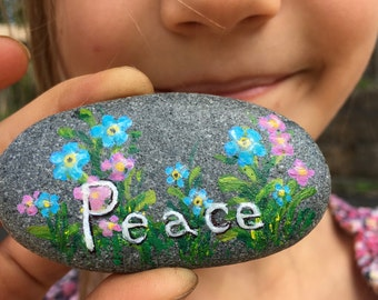 Hand Painted Peace Message Rock