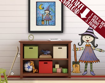 Instant Download w/BONUS Kid Art Print of Halloween Witch Painting - Kid Wall Art - Baby Nursery, Child & Teen Room Decor -PRINTABLES by TLW