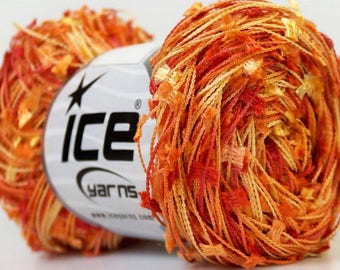ICE WINGS yellow red orange 50g fingering yarn 4 / / 61