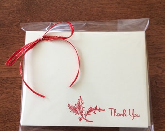 Stamped Set of 8 Holly Holiday Thank You Note Cards