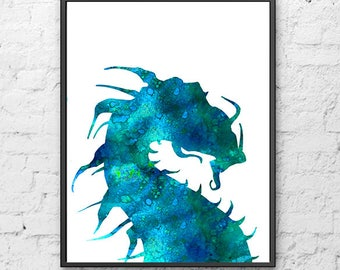 Blue dragon art print dragon art dragon poster dragon kids art, blue nursery decor, fairy art - H276