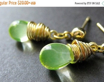 MOTHERS DAY SALE Lemon Lime Wire Wrapped Teardrop Earrings in Gold and Stud Earring Backs. Handmade Jewelry by Gilliauna