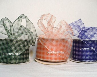 """Sheer gingham wired, sheer check wired edge, 2"""" x 10 yards"""