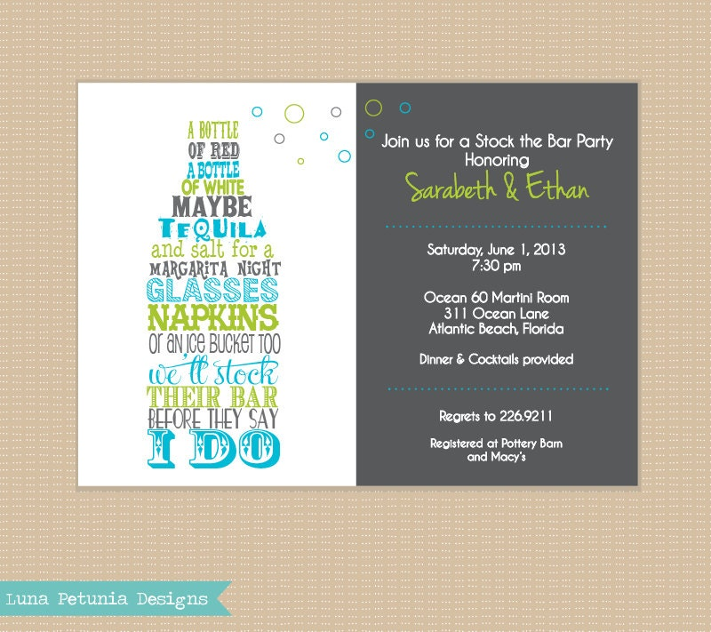 stock the bar party invitations Josemulinohouseco