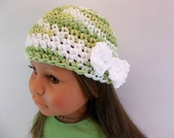 18 inch Doll  Crochet Hat Fits American Girl Doll Green Variegated with White Bow Accessories Toys
