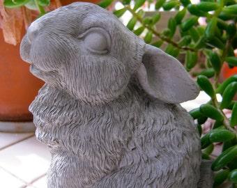Rabbit Statue, Petite Concrete Rabbit Figure, Cement Garden Decor, Garden Statues, Garden Rabbit, Outdoor Rabbit Statue, Cast Stone Bunny
