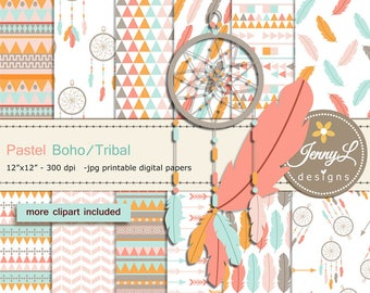 Pastel Boho digital papers and Feather Dream Catcher clipart SET, arrows for Digital Scrapbooking, wedding, birthday invitations Planner