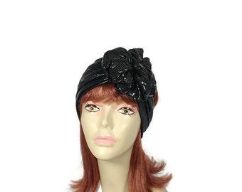 Goth Black Metallic Flower Headband Flower Head Wrap Steampunk Head Wrap Goth Hair Accessory Flower Hair Scarf Turban Head Wrap CUSTOM SIZES