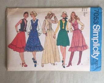 Vintage 70's Dress Pattern, 70s Prairie Dress Pattern, 70s Skirt Pattern, Simplicity 7053, Small, XS, Prairie Skirt, Hippie, Boho, Bohemian,