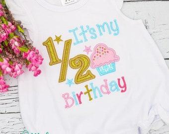 1/2 Birthday Applique, Half Birthday Applique, 6 Month Birthday Applique, Cupcake Applique