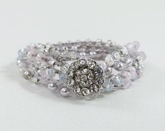 "Pastel Beaded Crochet 5x Wrap Bracelet or Long Beaded Necklace ""Serenity""  - Item 1558"