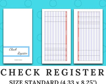 CHECK REGISTER - checkbook - Finances -  Standard size traveler's notebook insert - printable digital download