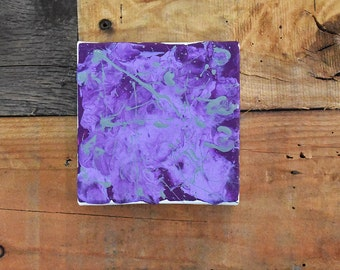 Purple Splatter 4x4 Abstract Painting