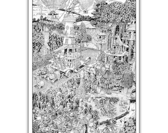 "Potters' Road - GIANT 27""x 40"" Wildergorn Colour-In Poster"