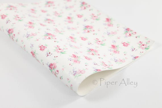 Pink Floral Vintage Roses Faux Leather Fabric Sheet 8x11 White Back DIY Craft Supplies Shabby Chic Flower Print