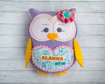 Owl toy etsy custom plush owl toy baby girl gift personalized baby gifts easter gift graduation preschool owl wall negle Choice Image