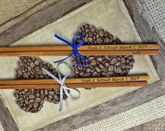 New Personalized Chopstick with Bow, Chopsticks, Bamboo Chopstick, Wedding, Rustic Chopstick, Wedding Chopsticks, Min. Order 5 pair