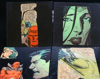 Vintage Images Justice League Coasters Set of 4 DC Comics Coasters Superman Batman Wonder Woman
