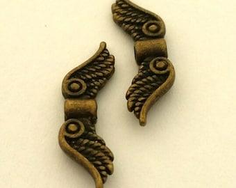 Angel wings - Antique Bronze Wings - Fancy Tibetan Style  - Lead Free - Qty. 6 pcs.