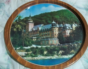 unknown place  round metal tray