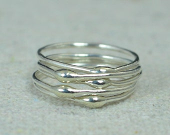 Unique Silver Stacking Ring(s),Silver Rings,Hippie Rings, Boho Rings, unique rings for her, Dew Drop Rings, Thin Silver Ring, bohemian rings