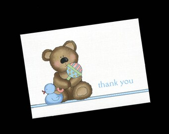 Thank You Cards for Baby Boy Shower Gifts, Blank Thank You Cards, Blank Notecards, Bear with Rattle and Ducky