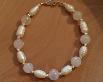 Rose Quartz and Freshwater Pearl Bracelet