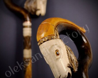 Goat Cane Collectible Cane Wooden Cane Walking Cane Wooden Stick Walking Stick Handcrafted Handmade Cane Woodcarving Exclusive Cane