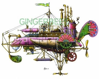 "7 of 12 Fanciful Submarine Giclee Prints on Fine Art Smooth Paper (16""x12"")"