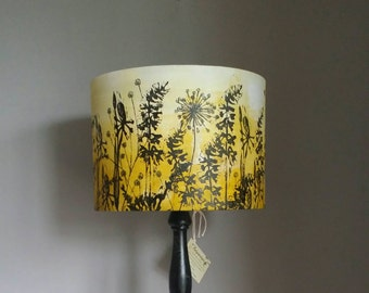 Hand Printed Lamp Shade, Yellow Ombre Lampshade. Drum Lampshade. Pendant  Lampshade ,table