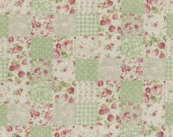 Durham by Lecien 2017  Squares of floral Print in greens 31467-60 Cotton Linen