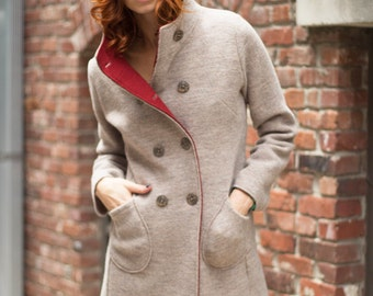 Beach melange and rust boiled wool women's coat with hood in Italian virgin merino wool
