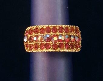 Vintage red iridescent aurora borealis rhinestone adjustable ring, gold band - antique jewelry, unique gift