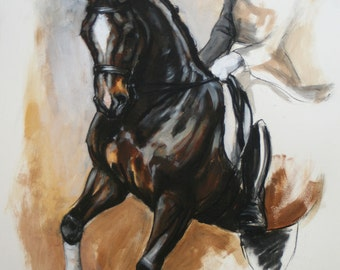 Beautiful equine art horse art wall art LE horse gift horse lover gift dressage horse print 'Pirouette' from an original mixed media