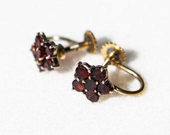 Beautiful Antique Bohemian Screw Back Garnet Earrings Gold Over Silver Victorian Style Heirloom