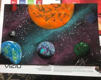 Spray Paint Art - Solar System on Multiple Panels