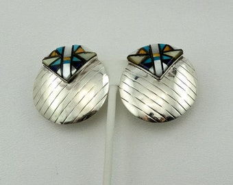 Unusual Southwest Native American Design Hand Made Inlay Sterling Silver Earrings FREE SHIPPING! #INLAY3-ERG3
