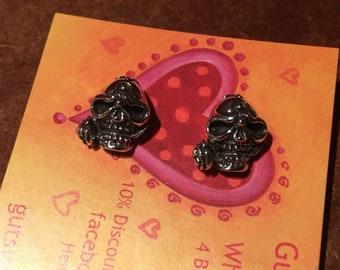 925 Silver 3D Skull Stud Earrings - 'Skull & Rose'