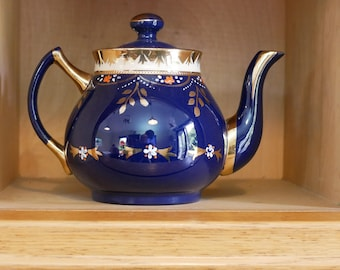 Edwardian Teapot , Water Jug and Stand in Dark Blue and Gold