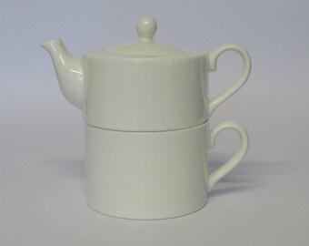 Tea For One White Ceramic Bone China Set Of Teapot & Mug TF001