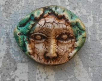 Forest nymph, artisan polymer clay, fairy face pendant