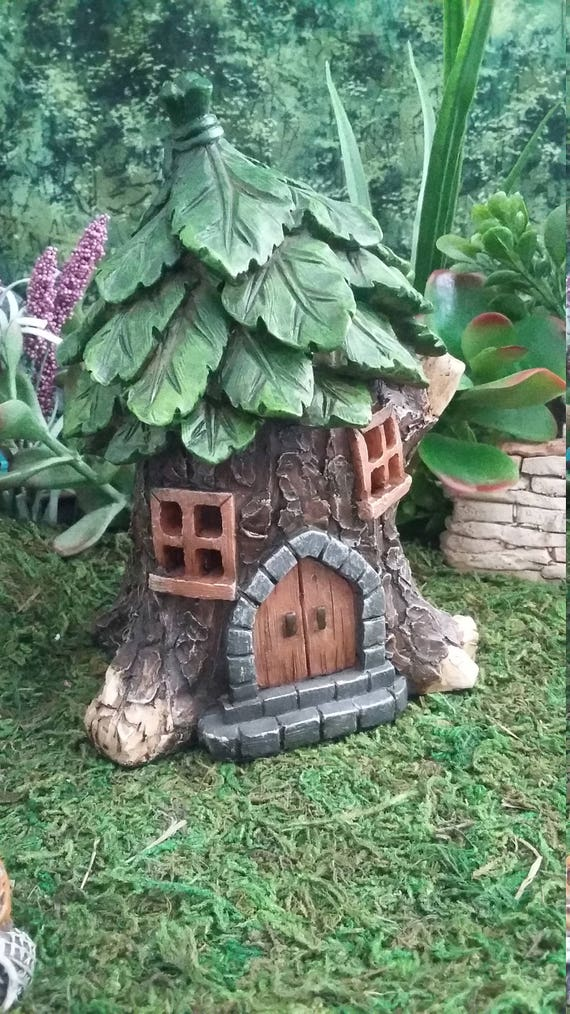 Fairy Garden Tree Stump House, Resin Fairy Garden House For your ...