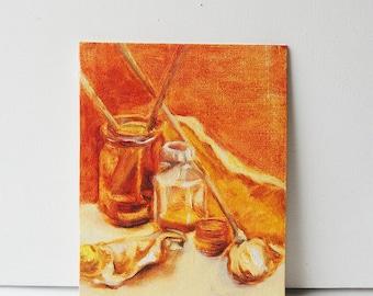 Original Oil Painting - Still Live in Orange