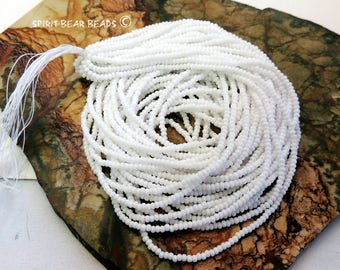 White, Opaque white Czech Glass Seed Beads, size 11/0 one Hank