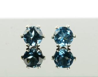 London blue topaz earrings, sterling silver and 4mm London blue topaz studs, deep blue gemstone earrings, December birthstone gift for women
