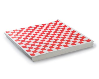 48 Red and White Wax Paper Checkered Sandwich Wrap, Red Check Food Basket Liner, Rustic Wedding, Retro Food Basket Paper