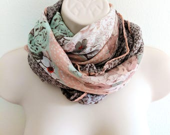 Flower Print Cotton Gauze Scarf, Pink, Mint Green and Red Scarf